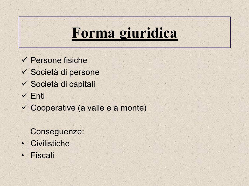 Forma giuridica Persone fisiche Società di persone Società di capitali