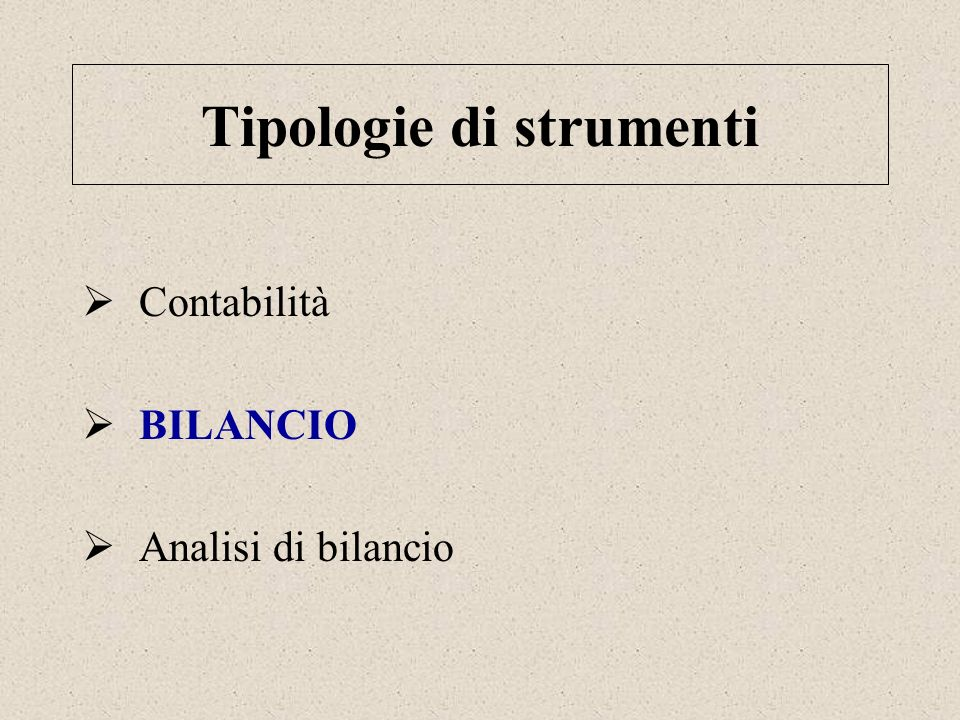 Tipologie di strumenti