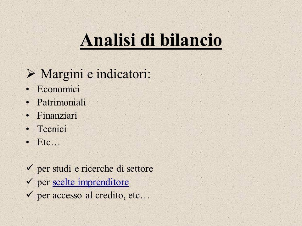 Analisi di bilancio Margini e indicatori: Economici Patrimoniali