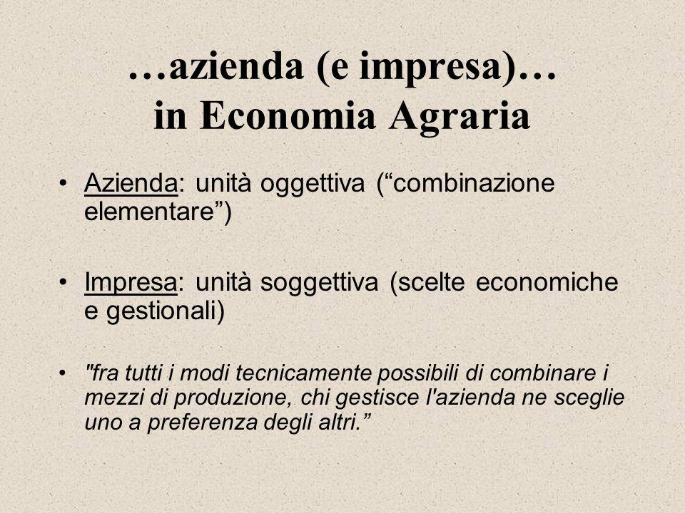 …azienda (e impresa)… in Economia Agraria