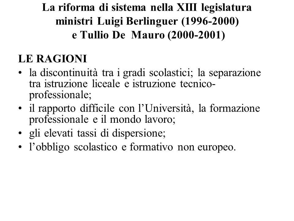 La riforma di sistema nella XIII legislatura ministri Luigi Berlinguer (1996-2000) e Tullio De Mauro (2000-2001)