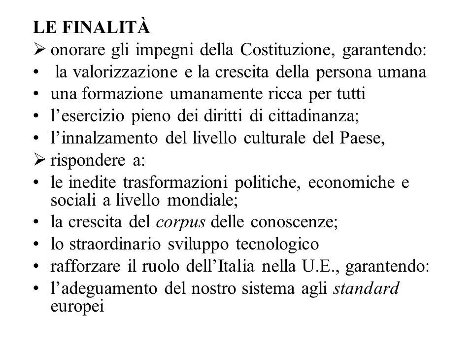 LE FINALITÀ onorare gli impegni della Costituzione, garantendo: la valorizzazione e la crescita della persona umana.