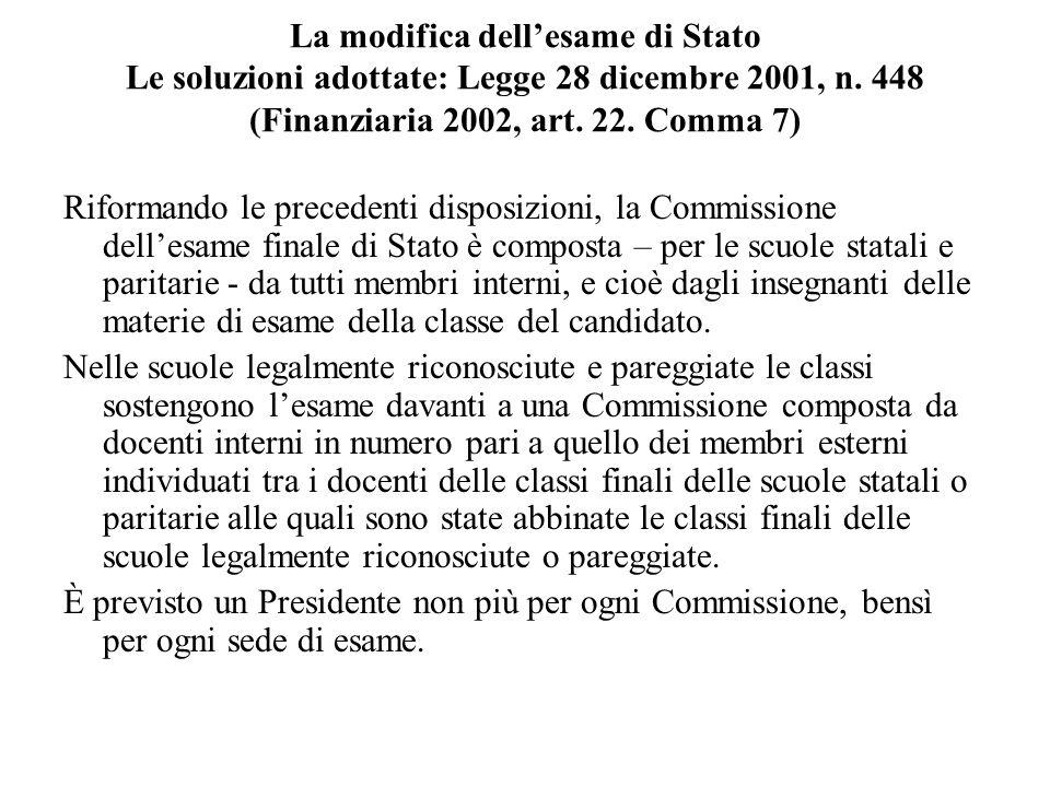 La modifica dell'esame di Stato Le soluzioni adottate: Legge 28 dicembre 2001, n. 448 (Finanziaria 2002, art. 22. Comma 7)