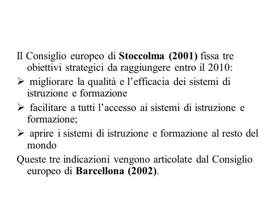 Il Consiglio europeo di Stoccolma (2001) fissa tre obiettivi strategici da raggiungere entro il 2010: