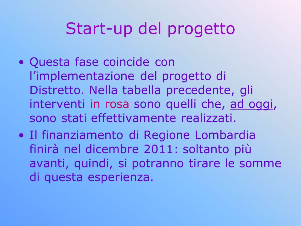 Start-up del progetto