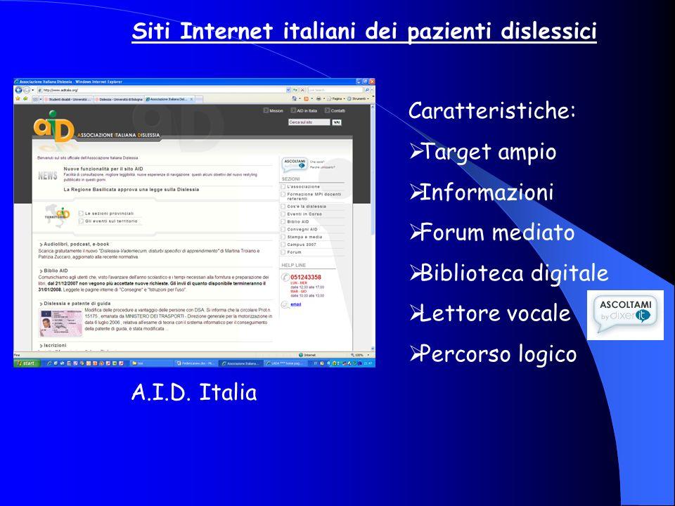 Siti Internet italiani dei pazienti dislessici