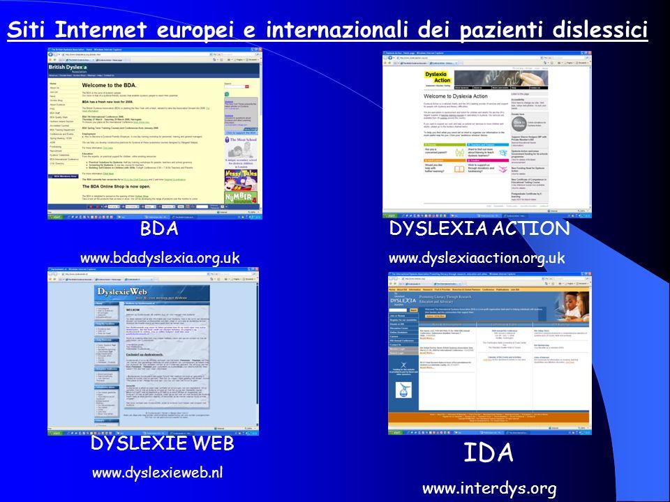 IDA Siti Internet europei e internazionali dei pazienti dislessici BDA