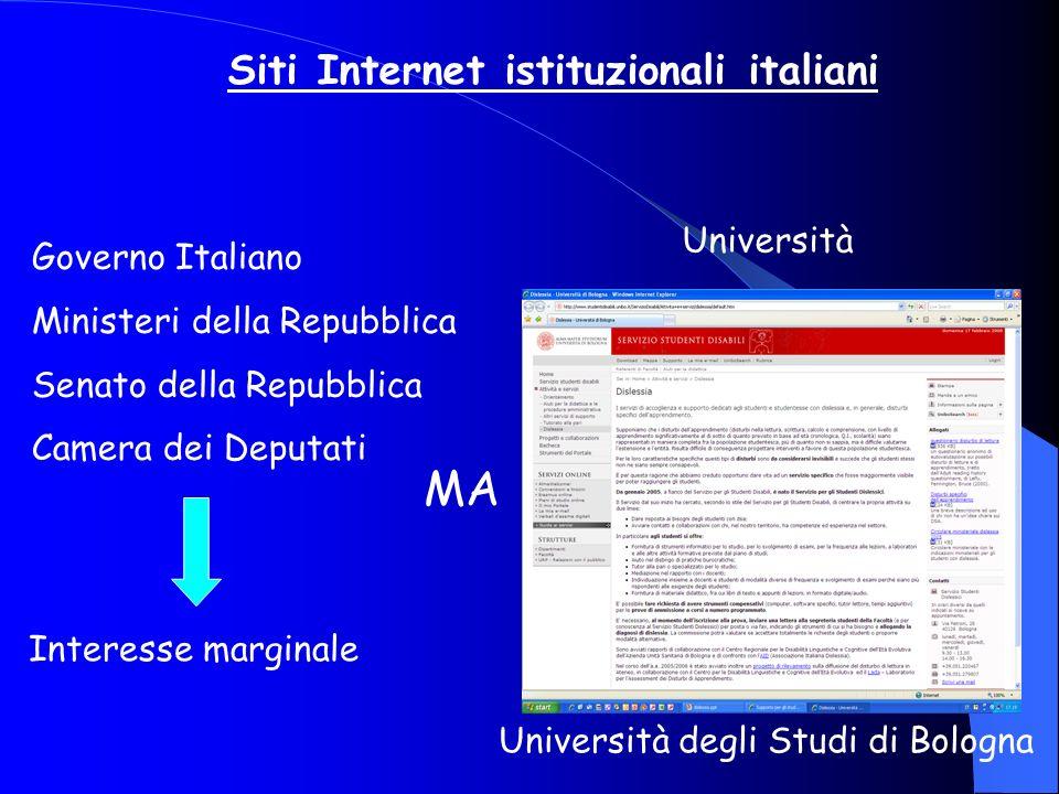 MA Siti Internet istituzionali italiani Università Governo Italiano
