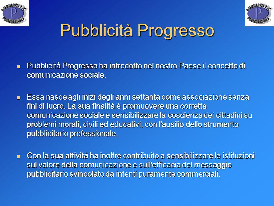 Pubblicità Progresso Pubblicità Progresso ha introdotto nel nostro Paese il concetto di comunicazione sociale.
