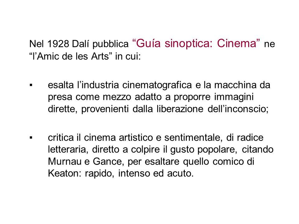 Nel 1928 Dalí pubblica Guía sinoptica: Cinema ne l'Amic de les Arts in cui: