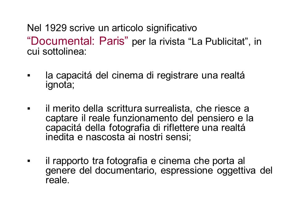 Documental: Paris per la rivista La Publicitat , in cui sottolinea: