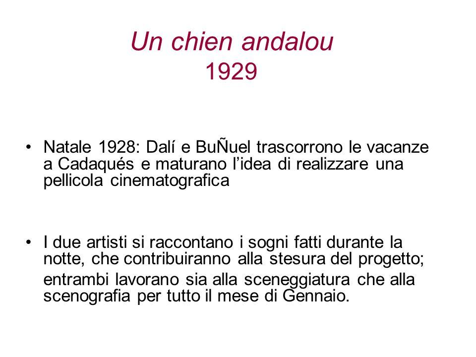 Un chien andalou 1929 Natale 1928: Dalí e BuÑuel trascorrono le vacanze a Cadaqués e maturano l'idea di realizzare una pellicola cinematografica.