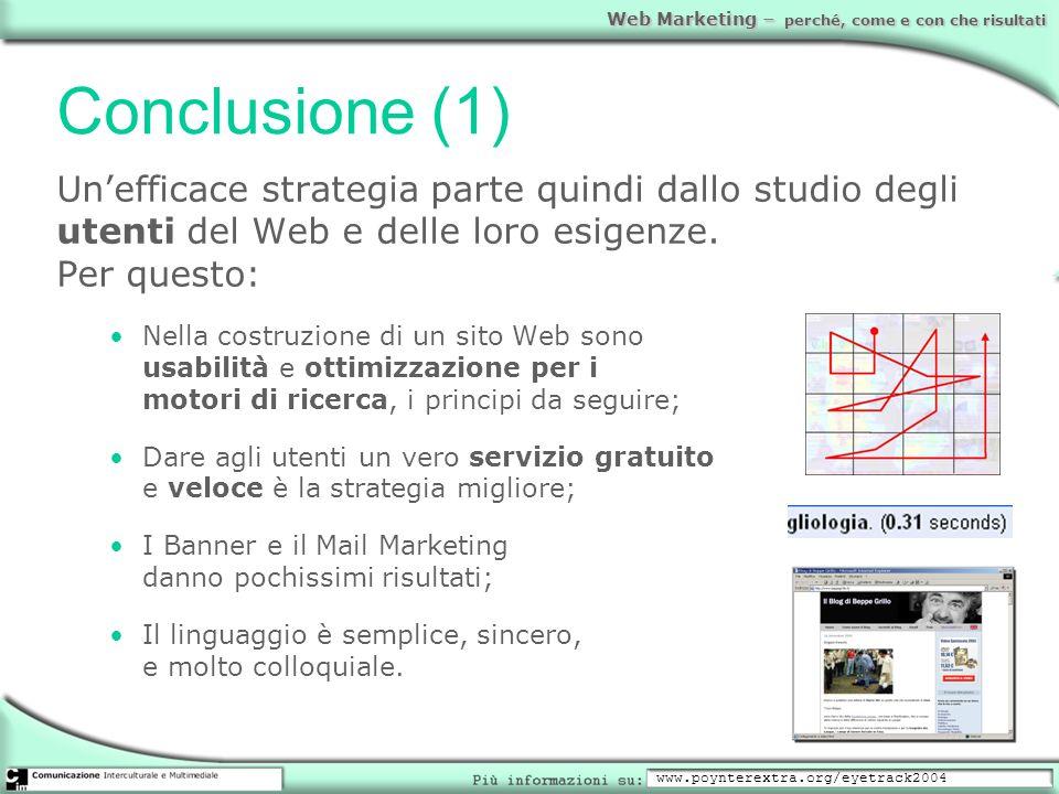 Conclusione (1)Un'efficace strategia parte quindi dallo studio degli utenti del Web e delle loro esigenze. Per questo: