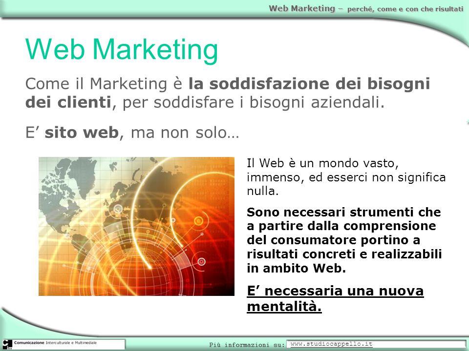 Web MarketingCome il Marketing è la soddisfazione dei bisogni dei clienti, per soddisfare i bisogni aziendali.