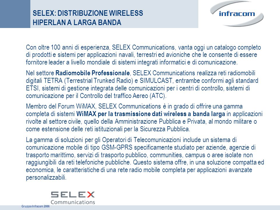 SELEX: DISTRIBUZIONE WIRELESS HIPERLAN A LARGA BANDA