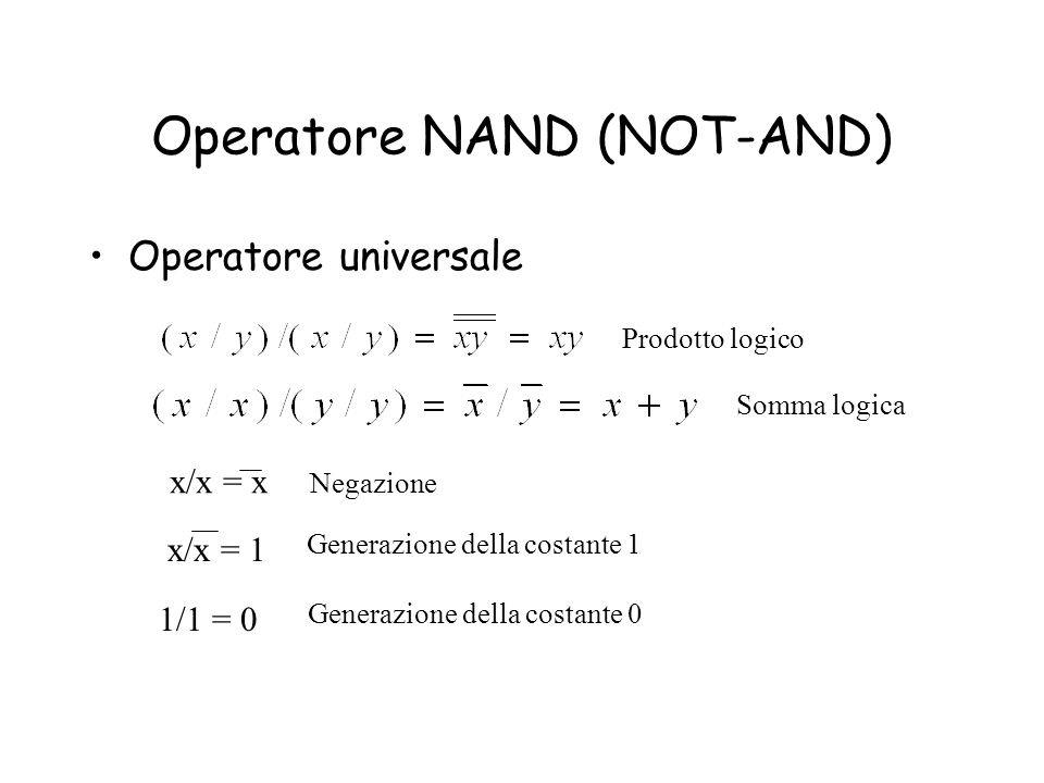 Operatore NAND (NOT-AND)