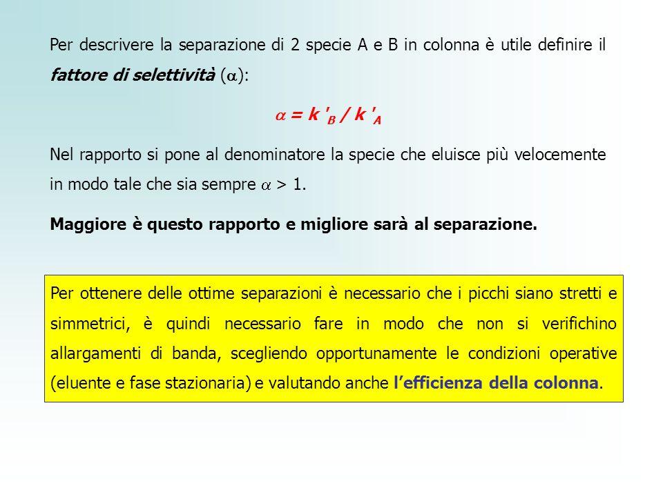 Per descrivere la separazione di 2 specie A e B in colonna è utile definire il fattore di selettività (a):