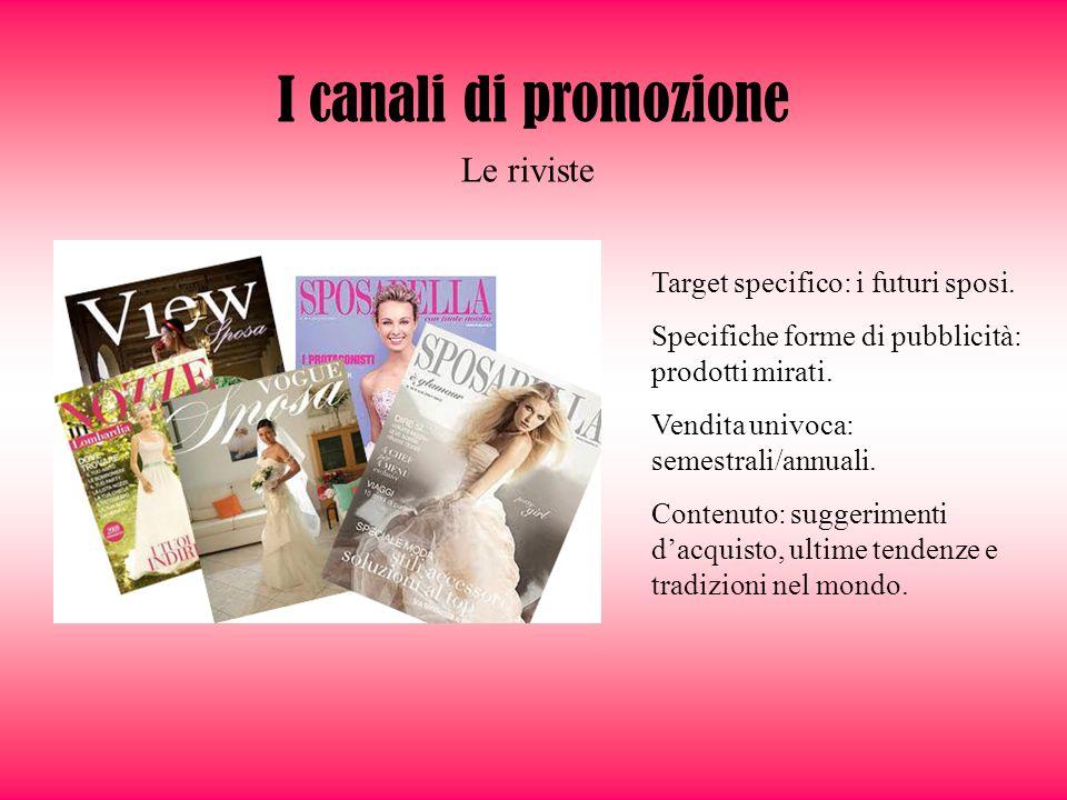 I canali di promozione Le riviste Target specifico: i futuri sposi.