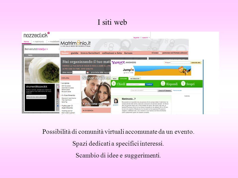 I siti web Possibilità di comunità virtuali accomunate da un evento.