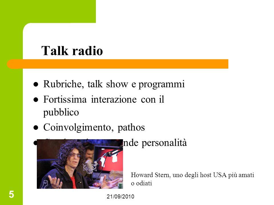 Talk radio Rubriche, talk show e programmi
