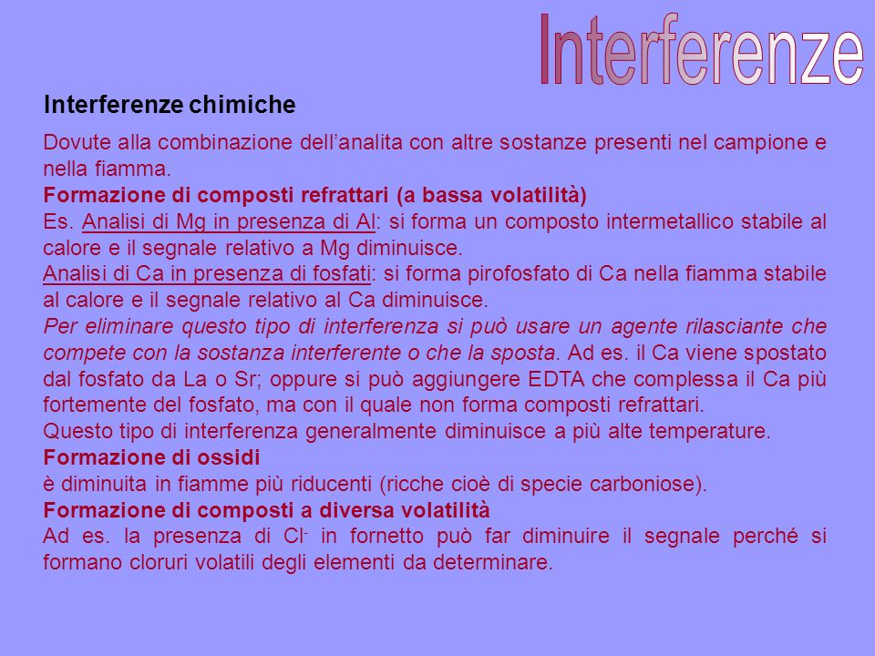 Interferenze Interferenze chimiche