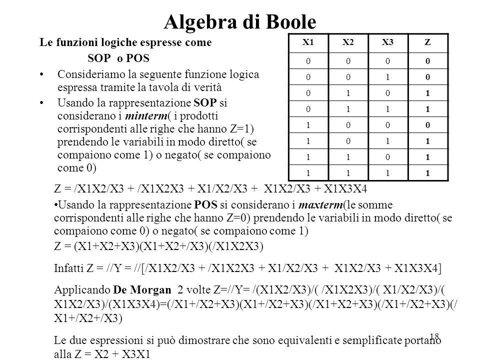 Algebra di Boole Le funzioni logiche espresse come SOP o POS