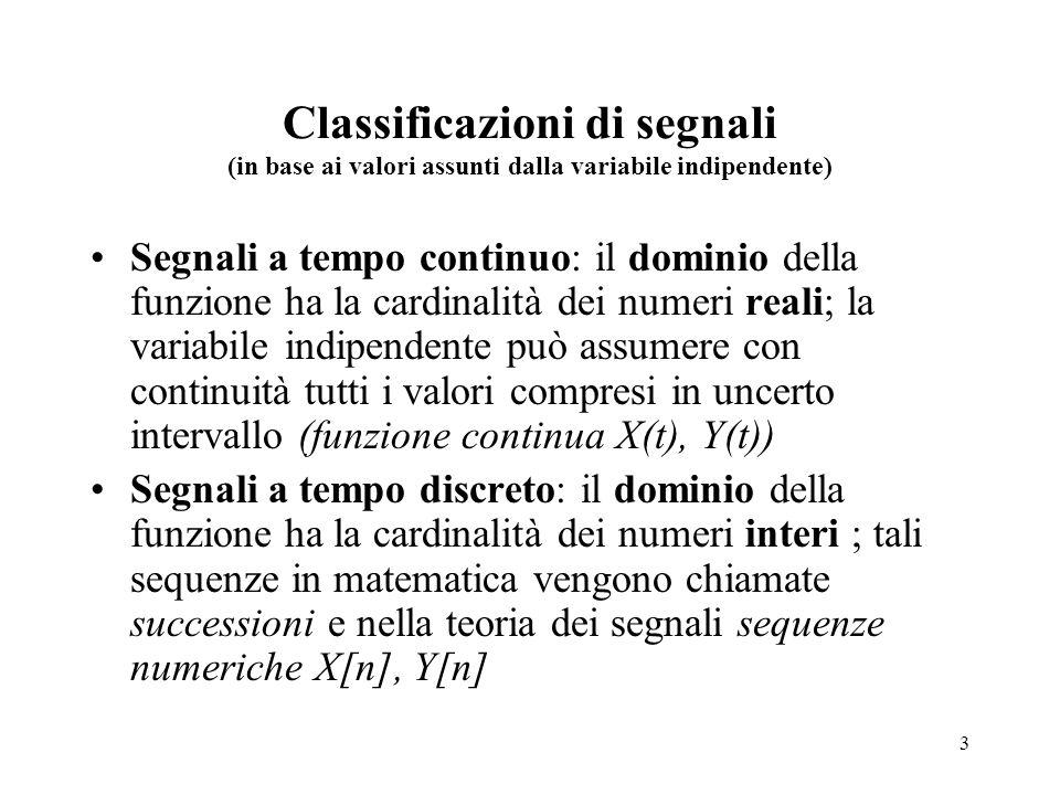 Classificazioni di segnali (in base ai valori assunti dalla variabile indipendente)