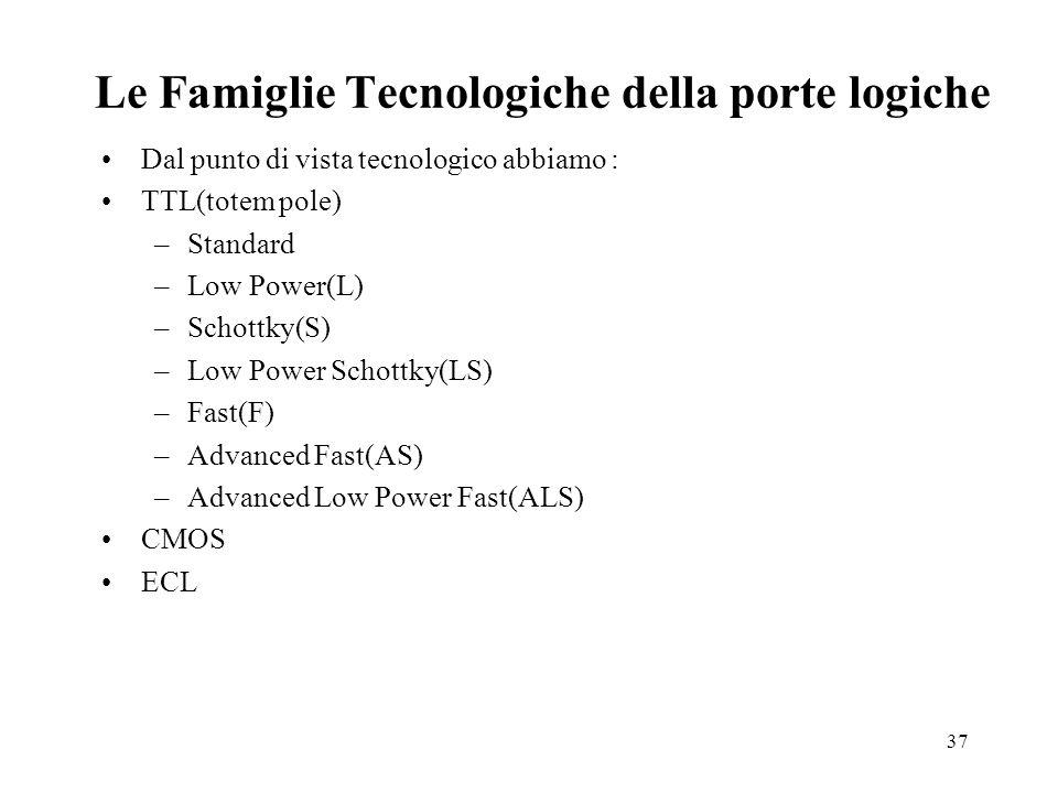 Le Famiglie Tecnologiche della porte logiche