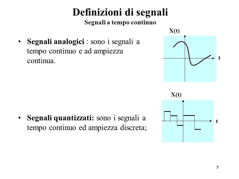 Definizioni di segnali Segnali a tempo continuo