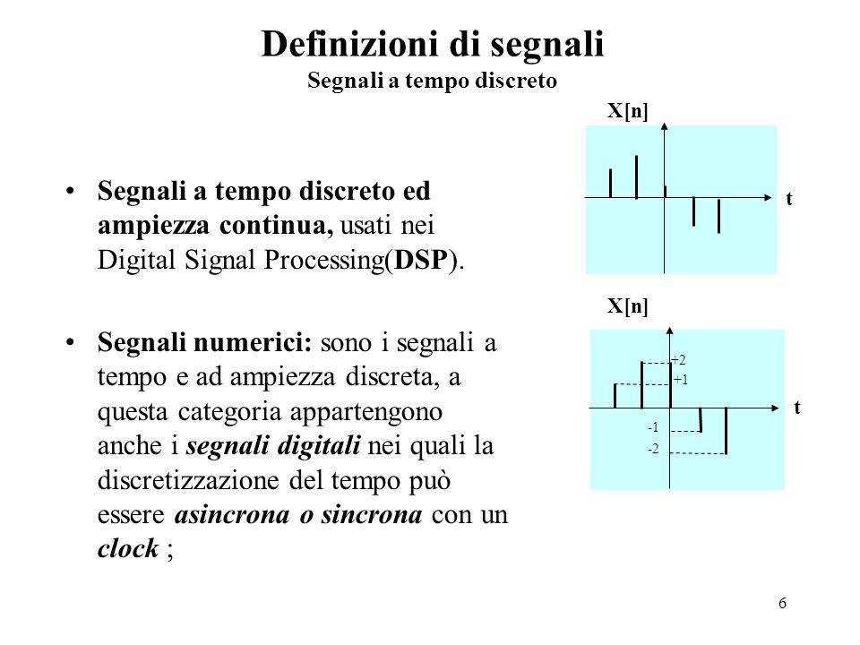 Definizioni di segnali Segnali a tempo discreto