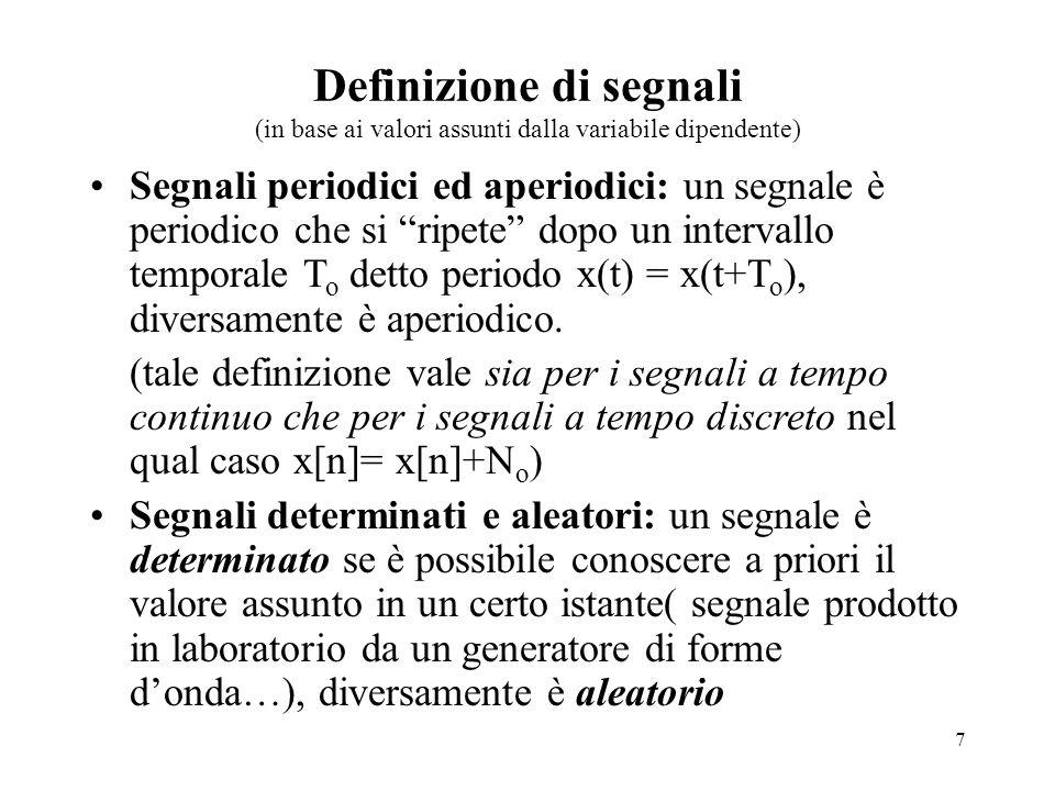 Definizione di segnali (in base ai valori assunti dalla variabile dipendente)