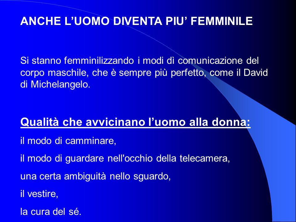 ANCHE L'UOMO DIVENTA PIU' FEMMINILE