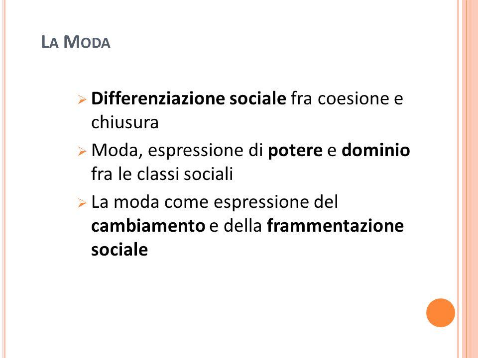 La Moda Differenziazione sociale fra coesione e chiusura. Moda, espressione di potere e dominio fra le classi sociali.