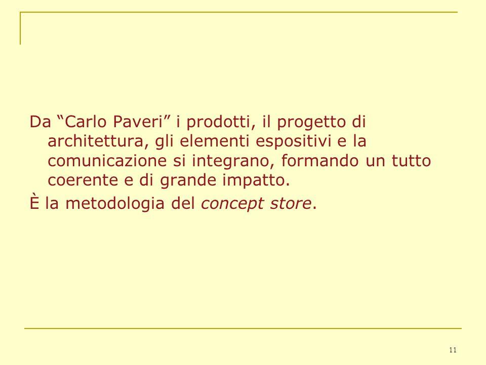 Da Carlo Paveri i prodotti, il progetto di architettura, gli elementi espositivi e la comunicazione si integrano, formando un tutto coerente e di grande impatto.