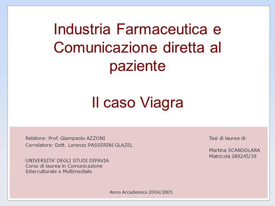 Industria Farmaceutica e Comunicazione diretta al paziente Il caso Viagra