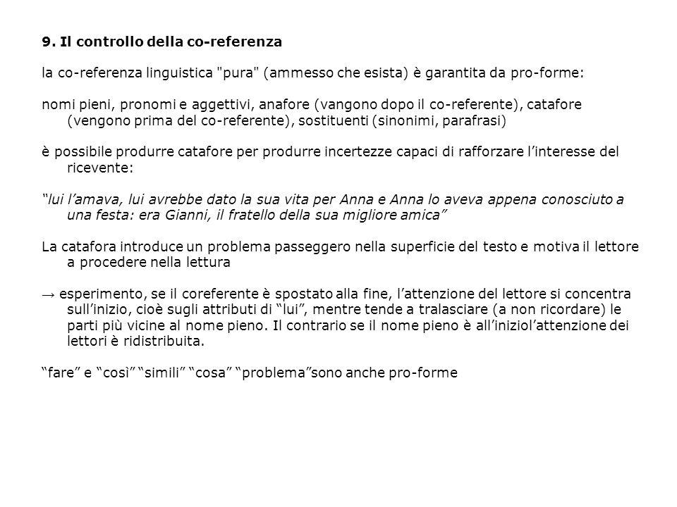 9. Il controllo della co-referenza