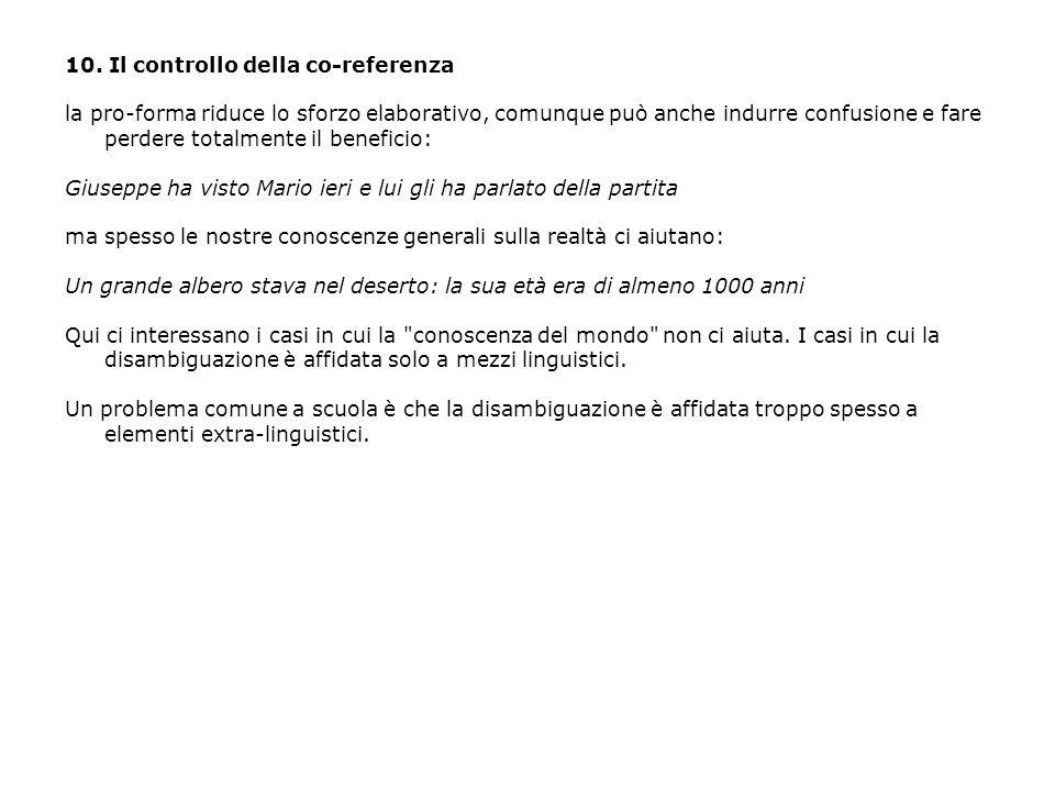 10. Il controllo della co-referenza