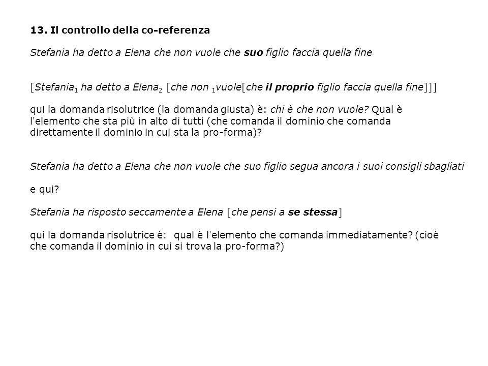 13. Il controllo della co-referenza