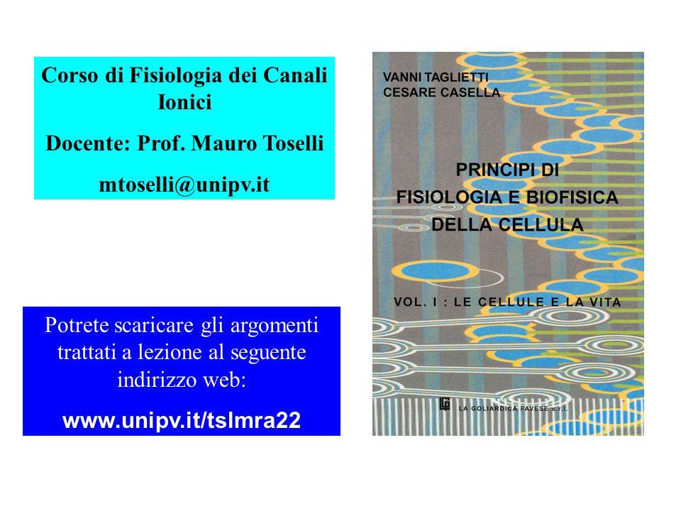 Corso di Fisiologia dei Canali Ionici Docente: Prof. Mauro Toselli