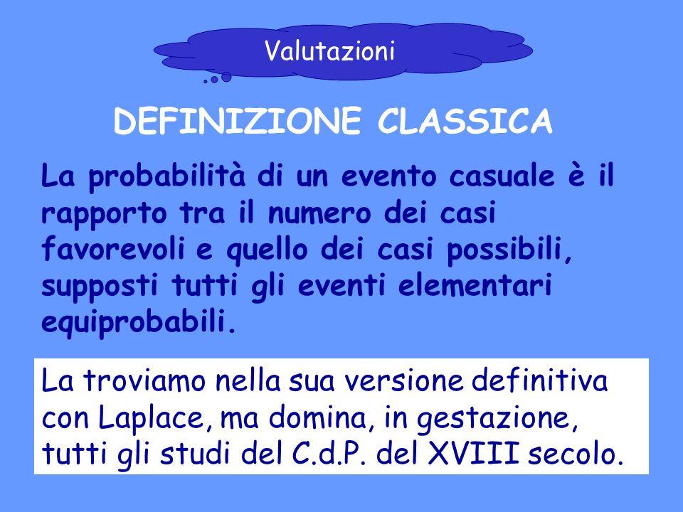 Valutazioni DEFINIZIONE CLASSICA.
