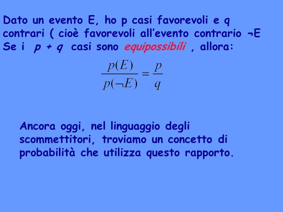 Dato un evento E, ho p casi favorevoli e q contrari ( cioè favorevoli all'evento contrario ¬E Se i p + q casi sono equipossibili , allora: