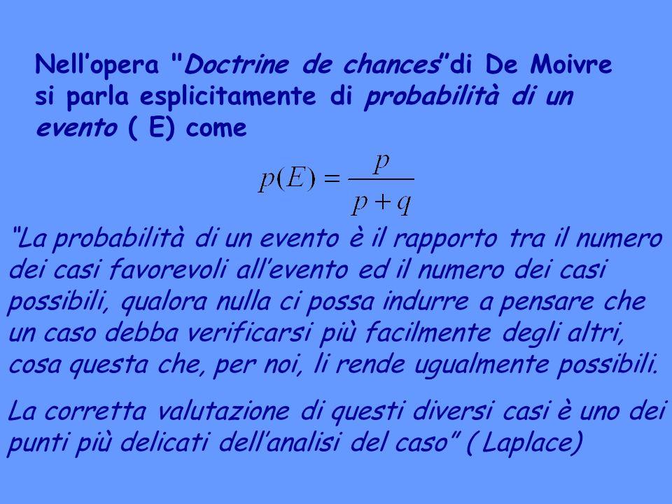 Nell'opera Doctrine de chances di De Moivre si parla esplicitamente di probabilità di un evento ( E) come