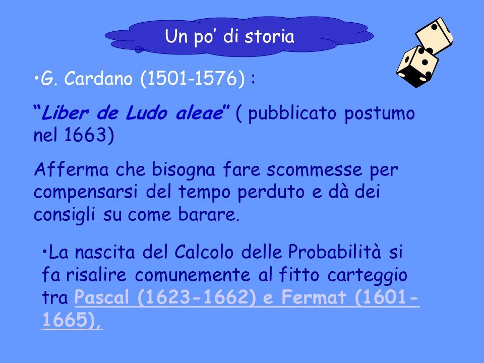 Un po' di storia G. Cardano (1501-1576) : Liber de Ludo aleae ( pubblicato postumo nel 1663)