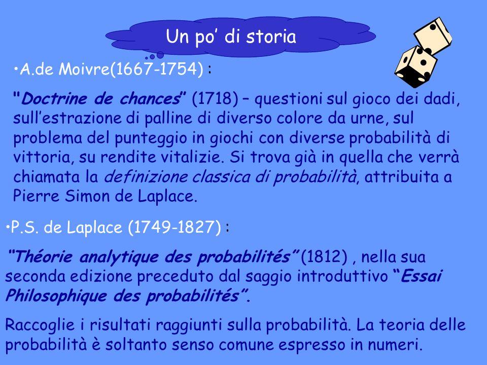 Un po' di storia A.de Moivre(1667-1754) :