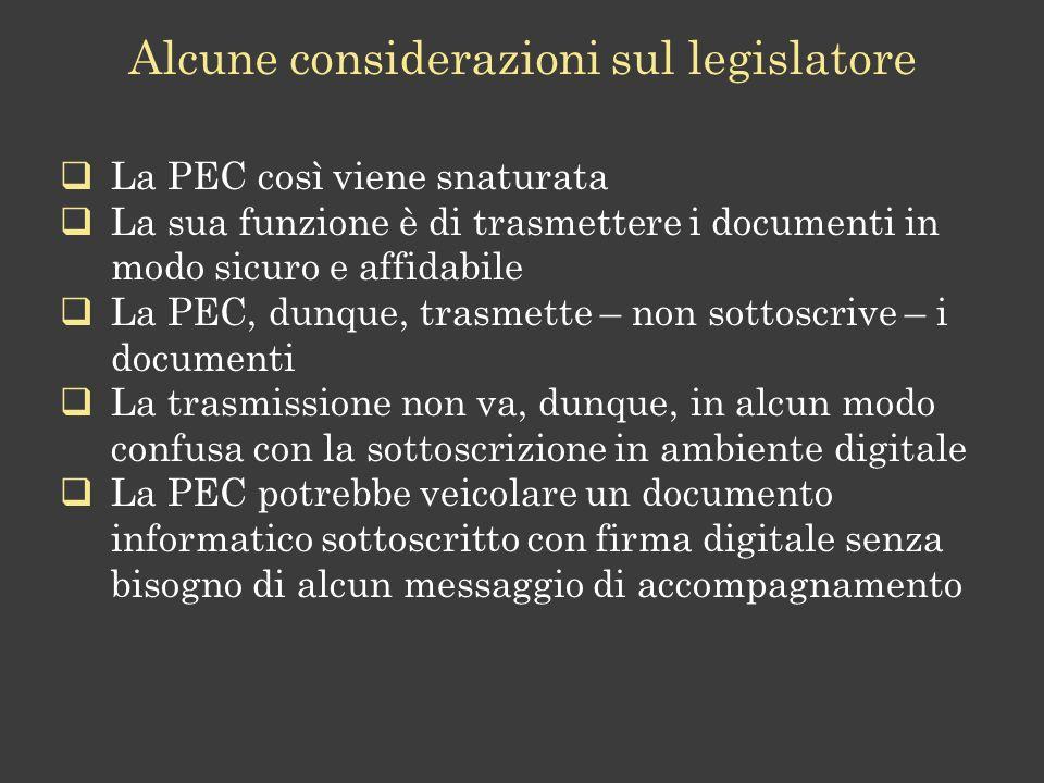 Alcune considerazioni sul legislatore
