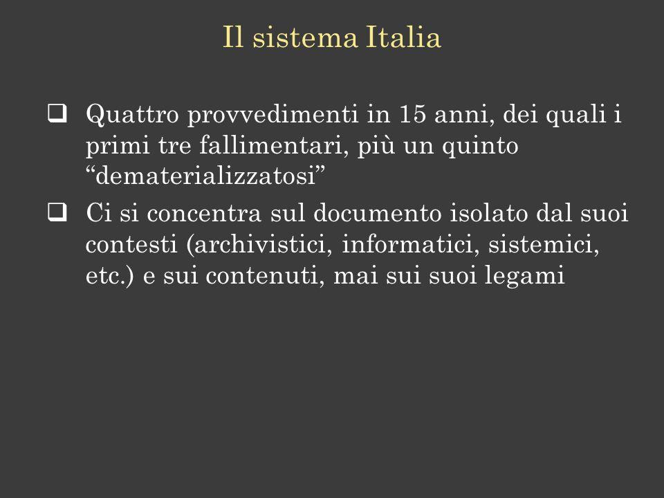 Il sistema Italia Quattro provvedimenti in 15 anni, dei quali i primi tre fallimentari, più un quinto dematerializzatosi