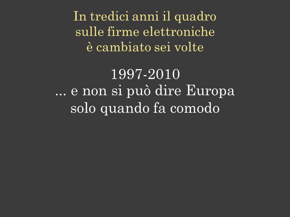 ... e non si può dire Europa solo quando fa comodo