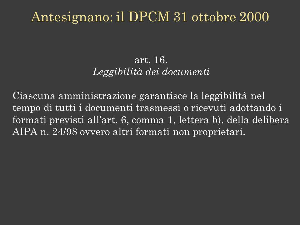 Antesignano: il DPCM 31 ottobre 2000