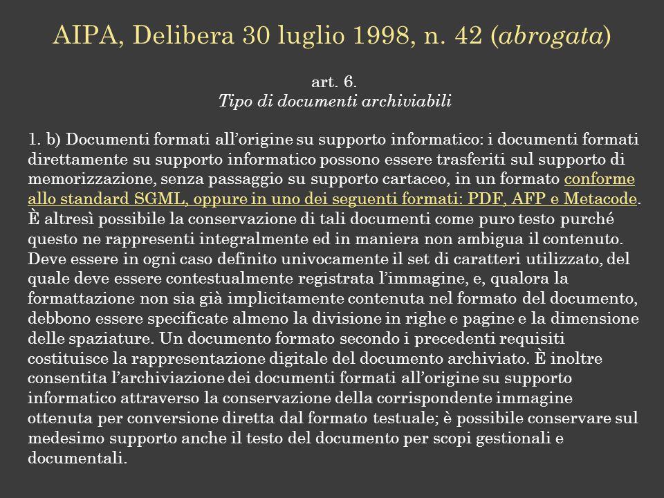 AIPA, Delibera 30 luglio 1998, n. 42 (abrogata)