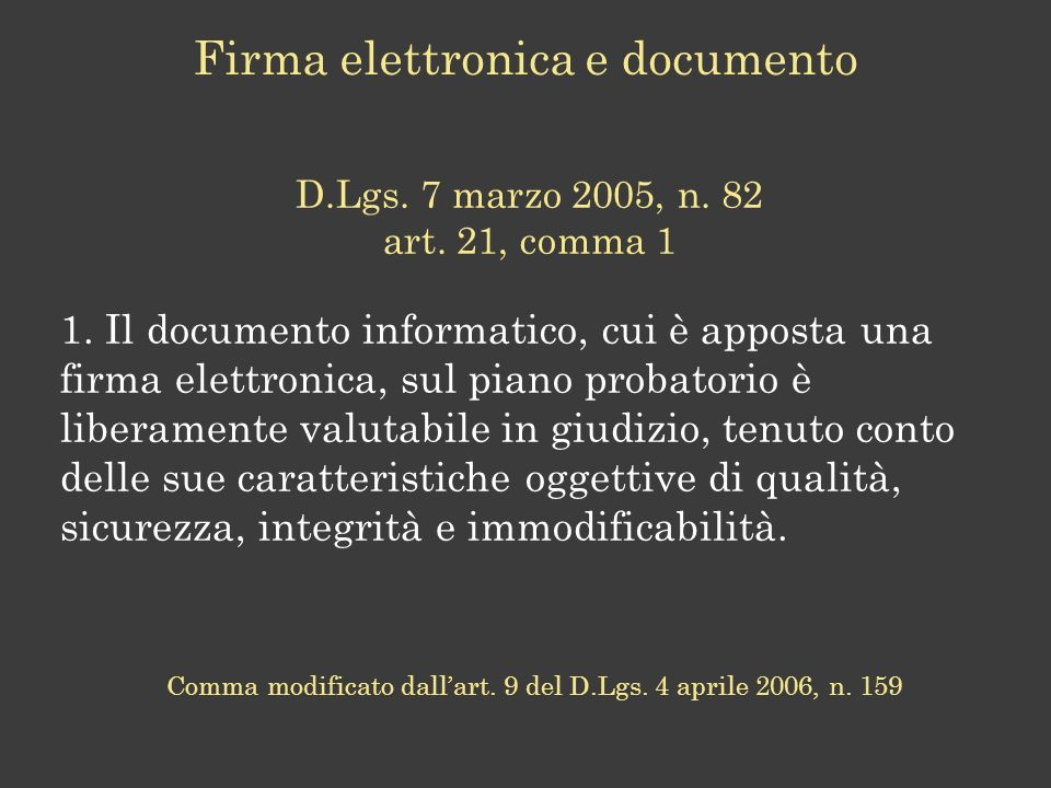Firma elettronica e documento